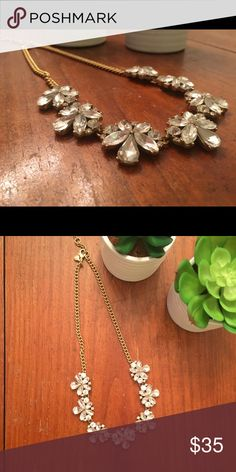 J. Crew Crystal Statement Necklace Adjustable in length; crystal and gold J. Crew Jewelry Necklaces