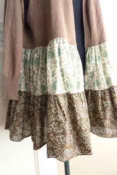 Upcycled lightweight (cotton blend) sweater, girly, womens clothing, eco chic, brown with aqua and brown floral skirt, jacket sweater, Boho chic, neutral, Large, XL, 1X, FREE SHIPPING! One of a kind! Drop shoulder CONDITION: all of these pre-owned items are in excellent condition!
