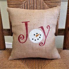 Christmas pillow Items similar to Joy snowman pillow, Christmas pillow, Snowman pillow, Joy pillow, Burlap Christmas, Christmas Sewing, Christmas Pillow, Christmas Signs, Christmas Crafts, Christmas Decorations, Christmas Towels, Snowman Crafts, Christmas Embroidery