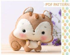 PDF Pattern Felt Mouse ballerina Felt Pattern Doll por HelloFelt Felt Fox, Felt Baby, Bear Felt, Felt Animal Patterns, Stuffed Animal Patterns, Fox Toys, Sewing Stuffed Animals, Felt Mouse, Plush Pattern