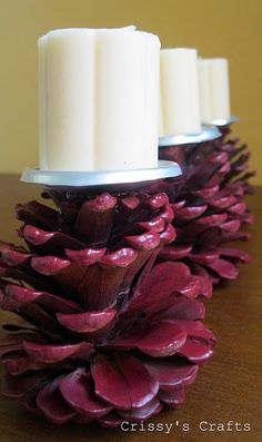 DIY with Crissy's Crafts: Pinecone Candle Holder. Use your Candle Impressions flameless candles so you don't have to worry about them tipping over! Fall Crafts, Decor Crafts, Holiday Crafts, Diy And Crafts, Thanksgiving Holiday, Holiday Ideas, Decoration Christmas, Xmas Decorations, Christmas Crafts
