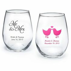 $1.99 Personalized Stemless Wine Glass (If you have to rent glasses anyway, might as well make these the favors!)