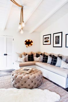 grey black and tufted  living room decor ideas