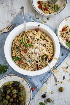 Wholemeal Spaghetti Salad With Garlic Almond And Herb Crumbs via Cook Republic