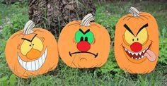 Set of 6 Silly Face #Pumpkins #Halloween Yard Art by DadandSonsWW https://www.etsy.com/listing/107780007/set-of-6-silly-face-pumpkins-halloween?ref=shop_home_active_22