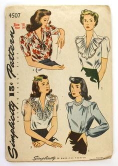 Vintage 1940s Blouse Pattern Bust 36 Simplicity 4507 Puffed Sleeves. $16.00, via Etsy.