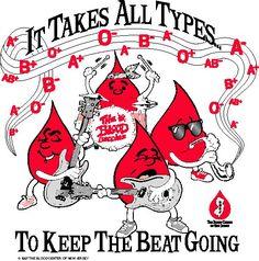 """""""Precisa de todos os tipos para a batida continuar"""" Blood Donation"""