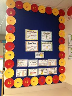 Math Pete the Cat Bulletin Board with Buttons made out of colored plates and stickers for button holes. Plate border.