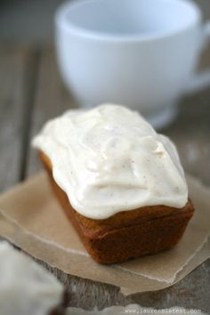 Mini Pumpkin Loaves with cream cheese frosting. I think this frosting is probably for putting on everything!