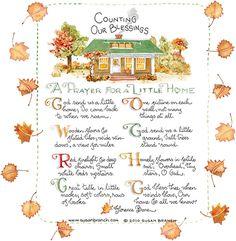 prayer for my home - love susan branch art Susan Branch Blog, Branch Art, Mary Engelbreit, Give Thanks, Fall Halloween, Homemaking, Religion, Prayers, Blessed