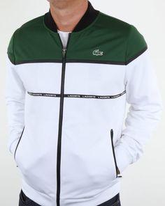 a8c72a419a2d8e Lacoste Colourblock Tech Track Top White Green Black