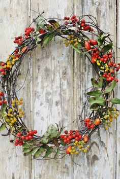 Simple Fall Wreath with Grapevine , Berries, and Greens. You could make this as simple or as full as you like! Wreaths And Garlands, Door Wreaths, Autumn Wreaths, Holiday Wreaths, Christmas Crafts, Christmas Decorations, Vibeke Design, Berry Wreath, Deco Floral