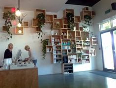 D & M Hair Salon. Wall made from product boxes...an ongoing project :)