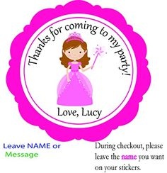 Set of 12 Princess Custom Personalized Birthday Party Favor Stickers, Round 2.5, Envelops Treat Tags Stickers, --By Beauty and Brains Girls Party Favor Labels Tags On Amazon-PLEASE LEAVE THE name YOU WANT ON YOUR STICKERS- -Please note that missing information will add to the turnaround time. BeautyAndBrainsGirls http://www.amazon.com/dp/B011GSPTM8/ref=cm_sw_r_pi_dp_Ap6Svb047WN72