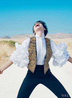 Magazine: Vogue US  Issue: December 2012  Editorial: Leap Of Faith  Cover Star: Anne Hathaway  Hair: Didier Malige  Makeup: Aaron De Mey  Stylist: Tonne Goodman  Set Design: Mary Howard  Photographer: Annie Leibovitz