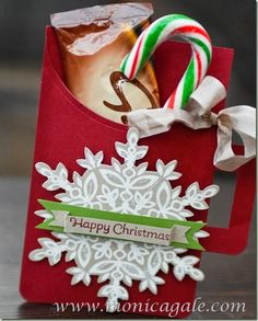Monica Gale Stampin' Up! Hot Chocolate Holder: Festive Flurry, White Craft Ink Pad, More Merry Messages, Cherry Cobbler Ink Pad, Ovals Collection Framelits, Dazzling Diamonds