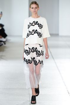 Spring 2015 Ready-to-Wear - Issa -- Pony legs stripes top and skirt white with black borders.