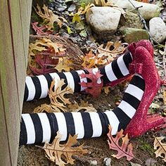 What great Halloween decorations! So funny and cute, I have to make the DIY Halloween craft. The kids will get such a kick out these wicked witch legs!