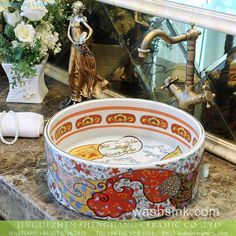 Jingdezhen made special design Indonesia style retro straight barrel shape famille rose ceramic mini under mount wash sink basin with gorgeous gold drawing cloud and sea wave pattern