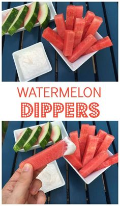 Watermelon Dippers with Honey Vanilla Yogurt Sauce make the perfect snack or dessert that both kids and adults are sure to love! @Mom to Mom Nutrition