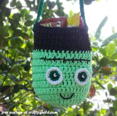 Free Frankenstein Crochet Trick or Treat Bag Pattern - The Yarn Box The Yarn Box