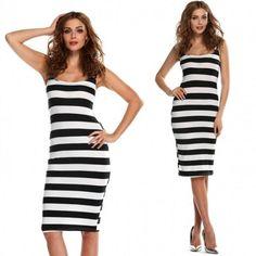 Stylish Lady Sexy Women's Strap Striped Backless Beach Casual Dress