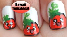 Kawaii Tomato Nail Art ◕‿◕ かわいい!  #nails #nailart #tutorial #HDtutorial #nailtutorial #nailarttutorial #tomato #kawaiinails #kawaii