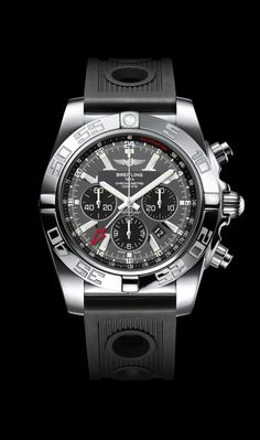 Chronomat GMT traveler's watch by Breitling - Steel case, blackeye gray dial, black Ocean Racer strap.