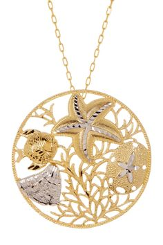 Two-Tone Gold Plated Sea Life Medallion Necklace by Dani G Jewelry on @HauteLook