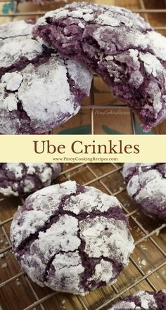 Ube Crinkles Cookies mixed with Ube jam coated with powdered sugar. Crunchy exterior and moist center. A great holiday treat! Ube Recipes, Baking Recipes, Cookie Recipes, Dessert Recipes, Easy Recipes, Crinkle Cookies Cake Mix, Cookies And Cream, Filipino Desserts, Filipino Recipes