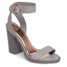 Women's Ted Baker London Betciy Ankle Strap Sandal ($195) ❤ liked on Polyvore featuring shoes, sandals, grey leather, ted baker shoes, gray shoes, leather sandals, ted baker and grey sandals