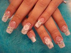 bridal nail art #nailart #diy #nailcolor #nailstyle
