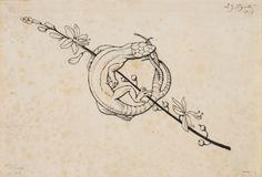 Sargantana mossegant-se la cua. Culdellàntia per al poema «Liliana» d'Apel·les Mestres. Apel·les Mestres. 1905. El llangardaix és un animal que es caracteritza perquè sempre busca el sol. Un cop el troba, pot estar-se quiet molta estona, gaudint-ne. D'aquí ve que aquest animal signifiqui la mandra. Cool Small Tattoos, Unique Tattoos, Antique Illustration, Illustration Art, Blackwork, Art Inspired Tattoos, Sword Tattoo, Folk Art Flowers, Occult Art