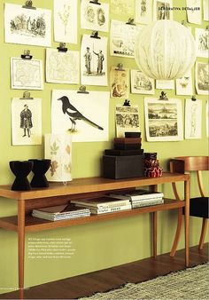 Great decorating idea: bulldog clips to hang a series of pictures/drawings