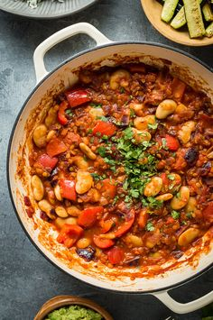 Lentil, Vegetable and Butter Bean Chilli (Vegan) - Home .- Lentil, vegetable and butter bean chilli – this simple vegan chilli with coriander rice, guacamole and roasted courgette is a scrumptious, wholesome and filling meal. Chilli Recipes, Vegetable Recipes, Vegetarian Recipes, Cooking Recipes, Healthy Recipes, Vegan Chilli Recipe, Healthy Chilli, Bean Chilli, Veg Dishes