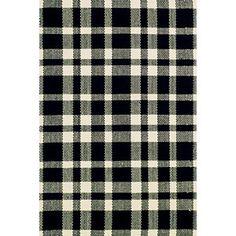 Tattersall Black/Ecru Woven Cotton Rug