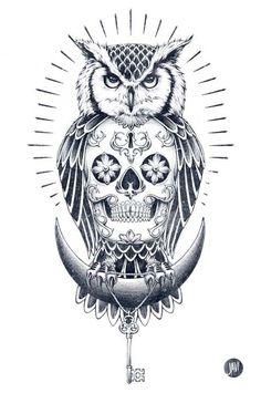 Immagine Disegno per Tatuaggio Gufo con Teschio
