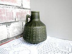 Vintage ceramic vase forest green pottery jug old от DelicateRetro