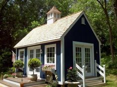 Tiny house with cupola and french doors. I love the tiny house in this picture. Tiny house with cupola and french doors. I love the tiny house in this picture. Style Cottage, Cottage Design, Cozy Cottage, Cottage Farmhouse, White Cottage, Farmhouse Ideas, Modern Farmhouse, Small Cottages, Cabins And Cottages