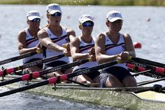 The U.S. team rows during the women's rowing quadruple sculls heat at the Eton Dorney during the London 2012 Olympic Games July 28, 2012.