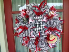 Alabama Crimson Tide Fan Deco Mesh Door Wreath by Crazyboutdeco, $99.00