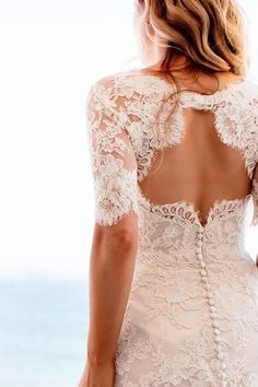 Wedding dress with lace keyhole back. Brides: The Best Wedding Blogs of the Week - March 14, 2014