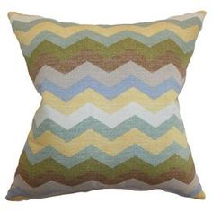 Cotton pillow with a multicolor chevron design.  Made in the USA.   Product: PillowConstruction Material: Cotton and 95/5 down fillColor: Multi Features:  Insert included Made in the USAHidden zipper closure Dimensions: 18 x 18Cleaning and Care: Dry cleaning recommended