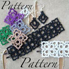 PDF Tatting Pattern - pétales - pendentif - Bracelet - boucles d'oreilles