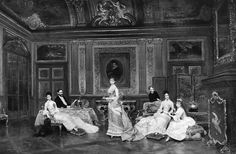 """Caroline Astor, competing with the """"tacky"""" mansion of the newly wealthy  Stewart  across the road,had the Georgian drawing room completely redone and turned into the then fashionable Rococo style, and it was in this room the family had their signature portrait done. This was the location of her famous """"400"""" balls, where the lucky 400 were considered high society enough to enter her realm."""