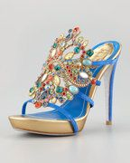 RENE CAOVILLA Swarovski Crystal Platform Slides Blue/Multi $1350 (SAVE $150) FREE WORLD DELIVERY * FREE GIFT WRAPPING * FREE RETURNS * CUSTOMER ASSURANCE GUARANTEE