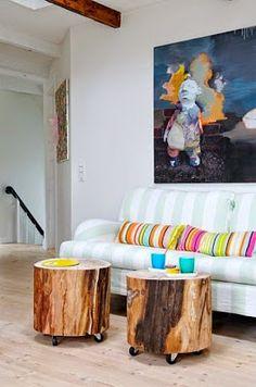 Icono Interiorismo: Decoración ecológica, Mesas auxiliares hechas con troncos de…