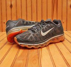 2011 Nike Air Max Size 5Y - Black Grey Total Orange Grey - 431873 008]