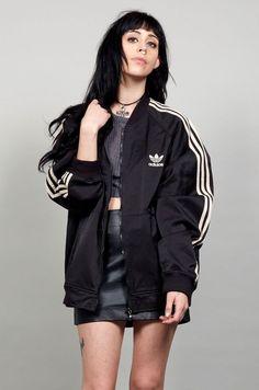Oversized Vintage 80's Adidas bomber jacket. I bought mine at age 13!