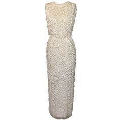 Vintage 60's Cream Beaded Gown